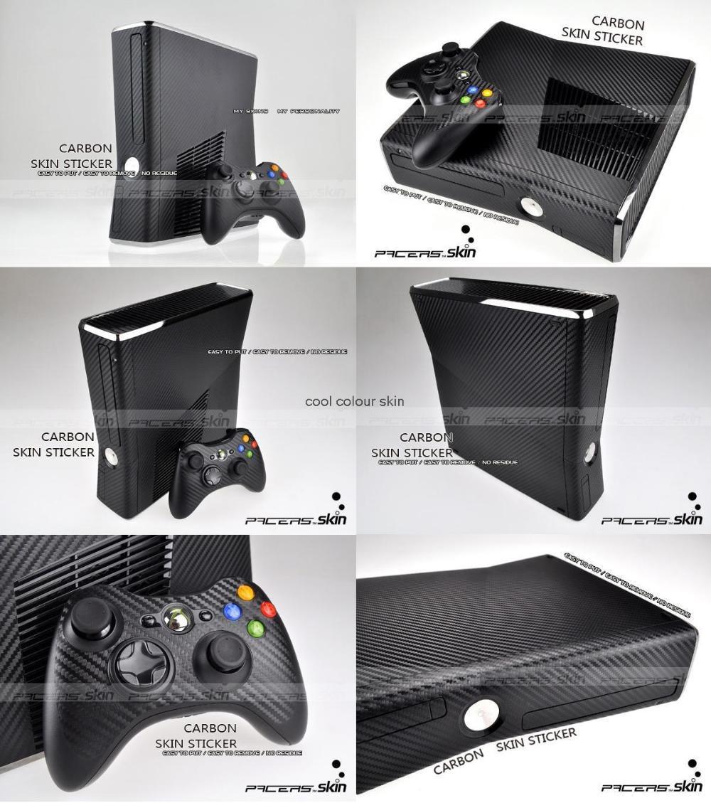 Black Carbon Fiber Vinyl Skin Sticker Protector Microsoft Xbox 360 Slim 2 controller skins Stickers XBOX360 SLIM - Cool Colour store