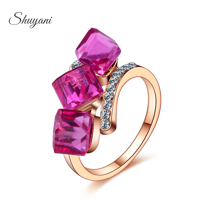 SHUYANI Jewelry Rose Gold Platinum Plated Austrian Crystal Ring Micro Inlay Cubic Zircon Rings For Women SR095