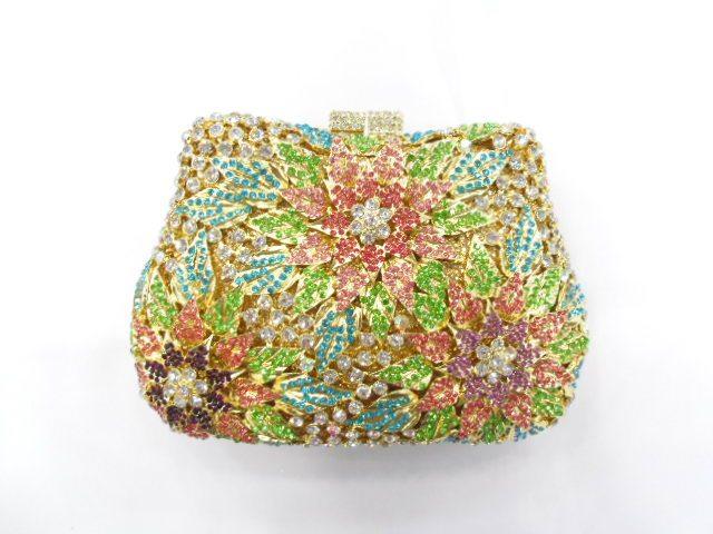 289A Crystal Flower Floral Lady fashion Wedding Bridal Party Night hollow Metal Evening purse clutch bag handbag case box<br><br>Aliexpress