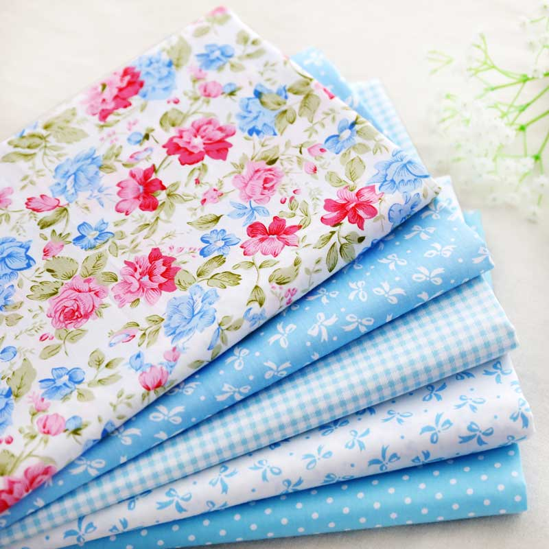 40CMX50CM Shabby chic Retro blue rose bowtie printed cotton fabric patchwork quilting sewing textile pattern set 5pcs/lot(China (Mainland))
