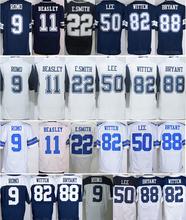 Wholesale Men's #9 Tony Romo Jersey Blue White #82 Jason Witten #88 Dez Bryant 100% Stitched Sports Jerseys Free Fast Shipping(China (Mainland))