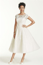 Ankle Length Cap Sleeve Illusion Wedding Dress CMK513 Applique Lace With Crystals Short Sleeves Bridal Dress(China (Mainland))