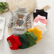 Winter brand sweater children cartoon wool cotton long sleeve pull hiver fille infant turtlenecks for girls pullover sweaters