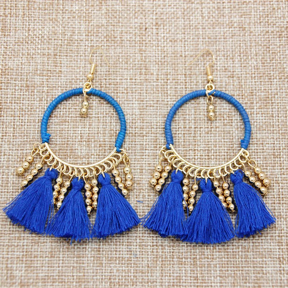Bohemia Style Drop Earring 2016 New Trendy Fashion Small Bead Beauty Shining Long Tassel Earring for Party FE0001(China (Mainland))