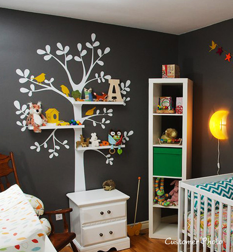 Vinyl Wall Decals Nursery - The Original Shelving Tree Wall Decal - Nursery Decor Wallpaper Wall Stickers Shelves not included(China (Mainland))