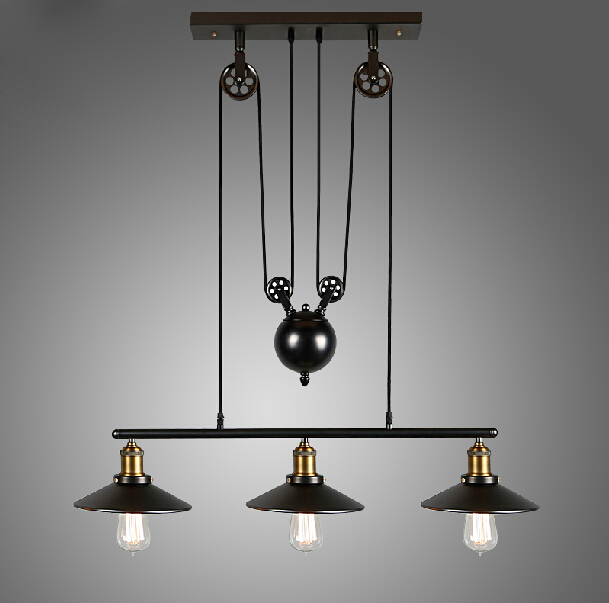 Rh Loft Vintage Iron Industrial Led American Country Pulley Pendant