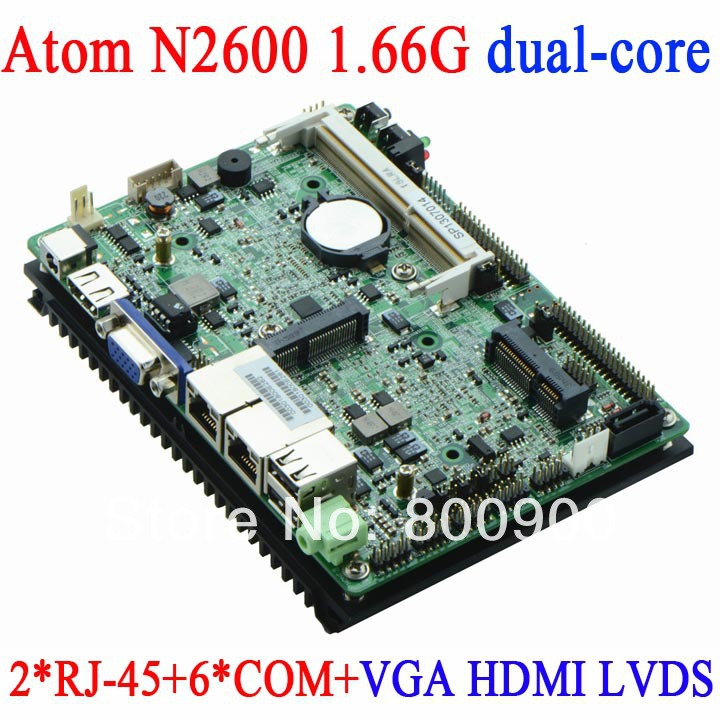 Atom N2600 3.5-inch embedded motherboard 3.5 watt low power industrial motherboard with dual nic RJ45 Fanless 6COM HDMI VGA(China (Mainland))