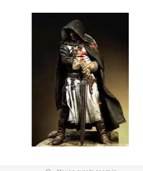 Knights Templars Warrior With Sword Model 75mm Scale Resin character Figure Model Kit Free Shipping(China (Mainland))