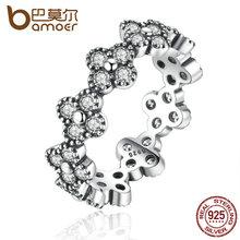 BAMOER 100% Стерлингового Серебра 925 Восточный Цветок, ясно CZ Палец Кольцо для Женщин 925 Серебряных Ювелирных Изделий PA7195(China (Mainland))