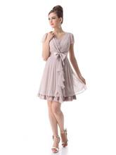 Girls Bridesmaid Dresses V neck Short Sleeves Sash Short Chiffon Bridesmaid Party Dress for Summer 2015