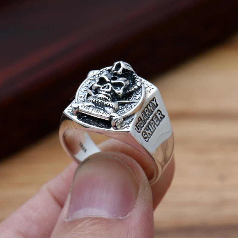 Broadside Piece Skull Ring 100% 925 sterling silver jewelry for men or women wedding ring vintage jewelry silver 925 2016 GR13<br><br>Aliexpress