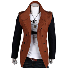 Autumn Winter Trench Coat Men The Double-Breasted Coat Of Recreational Vogue Sleeves & Body Color Is Different Mens Overcoat(China (Mainland))