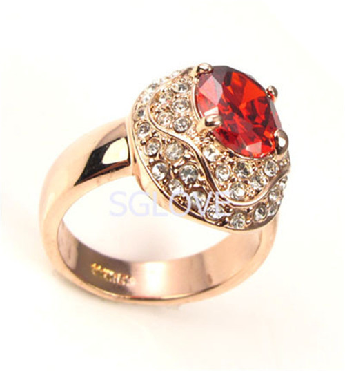 SGLOVE NEW 2015 Lord of the Rings Retro18K Rose Gold Plated Big Ruby Crystal Diamond Summer