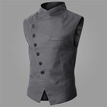 Brand New Suit Vest Men Fashion High Quality Black Gray Formal Business Men Dress Vests Slim Fit Casual Sleeveless Jacket Men(China (Mainland))
