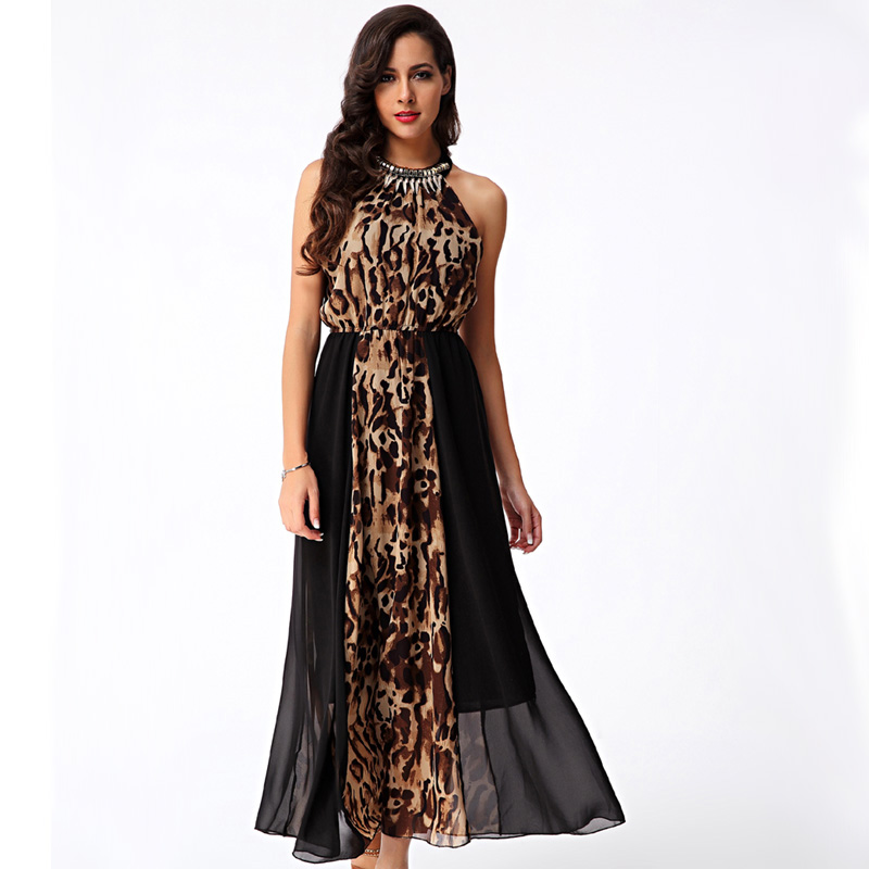 Sexy Women Summer Style 2016 Elegant Bohemian Goddess Maxi Dresses Long Chiffon Halter Party Dress Leopard Printing Sundress XL(China (Mainland))