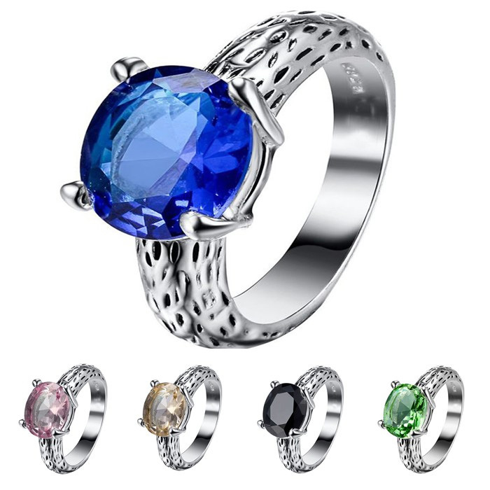 925 Sterling Silver Rings Prong Setting Oval Crystal European Fashion Jewelry For Women Ring Wedding Party Birthday Top Quality(China (Mainland))