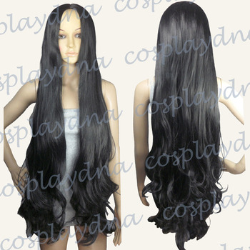 40 inch No Bangs Midpart Black Long Wavy Cosplay Wig