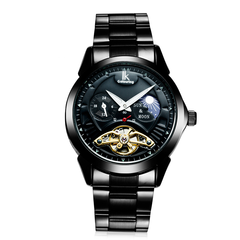 popular coloured watches for men buy cheap coloured watches for man automatic mechanical watch mens 24 hours calendar luminous full steel watches fashion simple casual relojes ik colouring hot