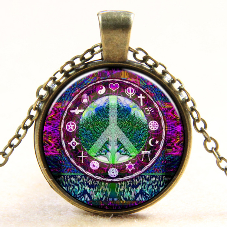 Fashion Vintage Life Tree Pendants Necklace Fashion Glass Cabochons Statement Necklace Jewelry for Women Gift Sweater Collares