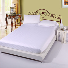Wholesale solid color 100% cotton white Single/Twin/full/queen/king bed size fitted sheet bed mattress cover(China (Mainland))