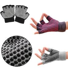 1 Pair Fashion Modern Design Yoga Half Fingers Fingerless Non Slip Grip Sticky Gloves Sports Exercise Equipment Random Color