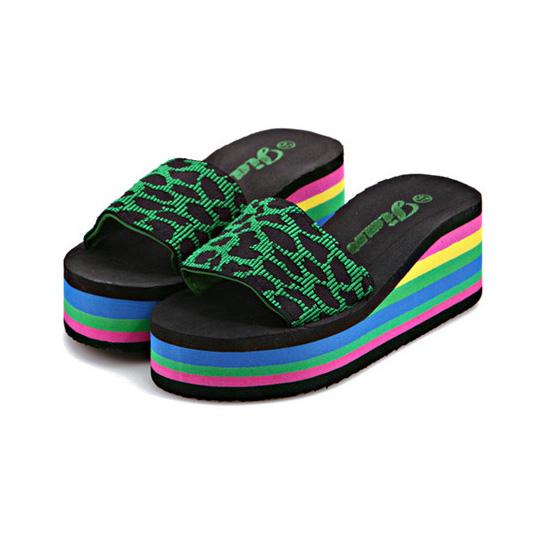 Women sandals slippers 2016 new summer fashion rainbow leopard muffin sandals home shoes wedge heels beach sandals ALF134<br><br>Aliexpress