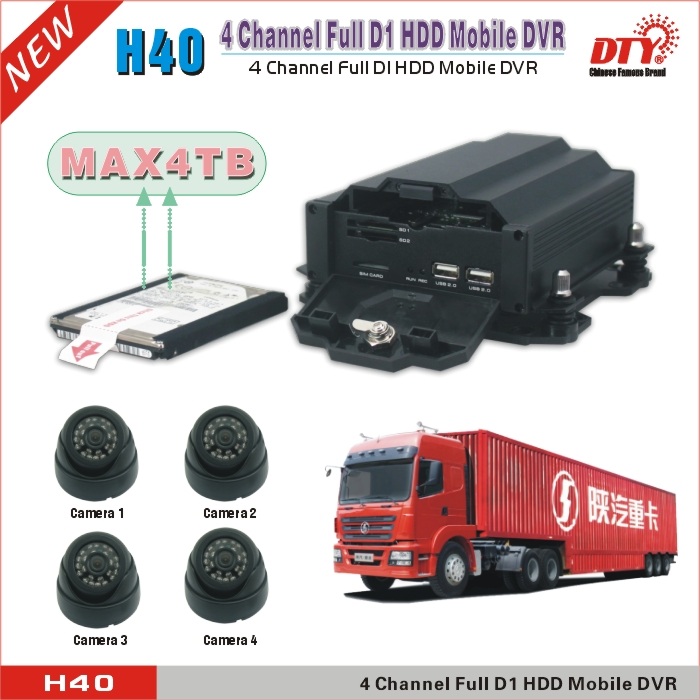 Anti-shock HDD recording 4CH 3G Vehicle Mobile DVR with GPS and Wifi for Bus,H40-3GW(China (Mainland))