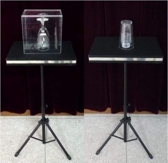 Coin in glass and glass breaking table case table base for Table 6 trick