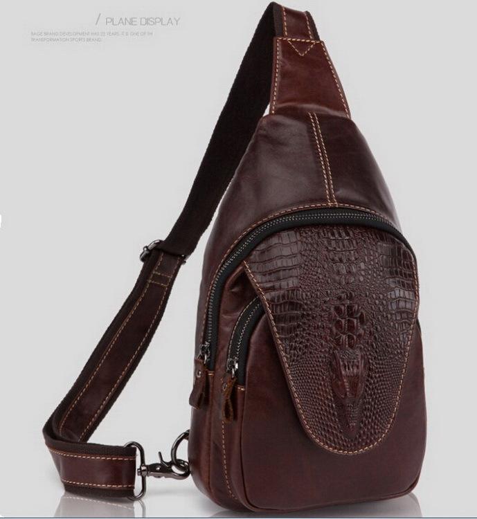 Hot Sold 100% Genuine leather men bag Crocodile sports bags man shoulder Packs vintage Men Messenger Bag Crossbody Bags 2015 new(China (Mainland))