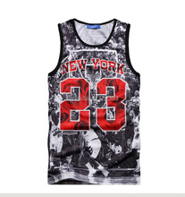 2015 New Summer gym shark top ball game font b Jordan b font 23 Print men