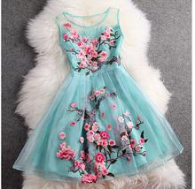 Early spring summer 2015 designer women's dress blue beige 3d flower embroidery fashion vintage dress  brand event dress (China (Mainland))
