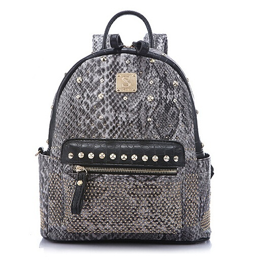 Quality PU Leather Serpentine Pattern Youth Fashion Rock Hip-Hop Style Rivets Lady Student Casual Backpack 1529<br><br>Aliexpress
