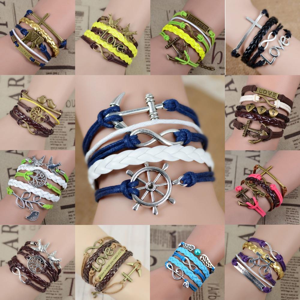 Free shipping Fashion Vintage Infinity Anchor Hook Artificial Leather Bracelet, Men Women Bracelets & Bangles Jewelry(China (Mainland))