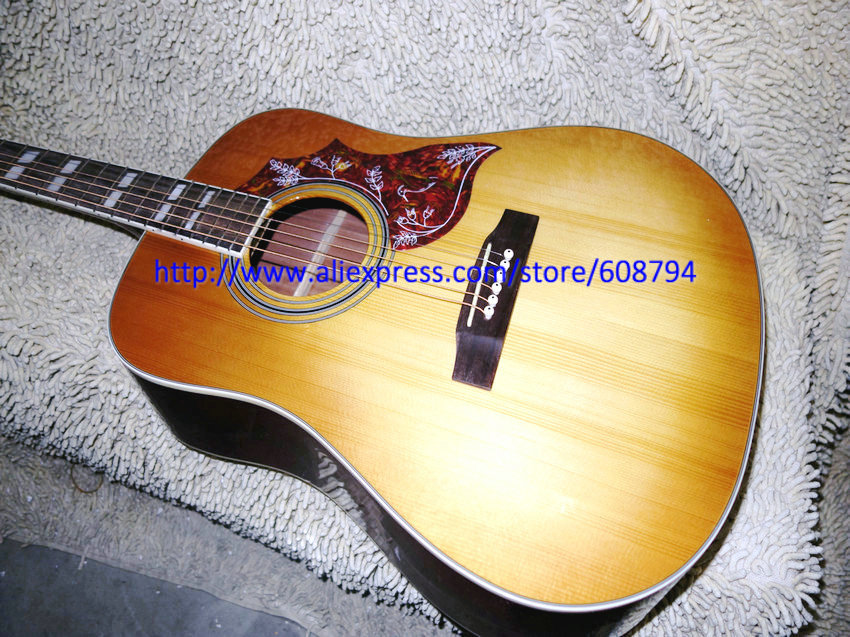 Custom Acoustic Guitar & Acoustic Electric Guitar Honey burst Hummingbird guitar China Guitar Factory wholesale free shipping(China (Mainland))