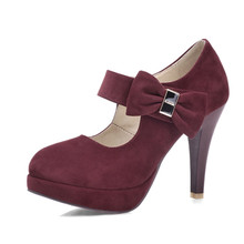 Round Toe Platform Woman Pumps Big size 32-42 Women Mary Jane Sweet Bow tie Party Wedding Shoes 2016 Sexy High Heels(China (Mainland))