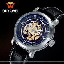 Oyw Classic Luxury brand negro mecánico automático esquelético Retro Wrap Relogio viento del uno mismo relojes de pulsera automático