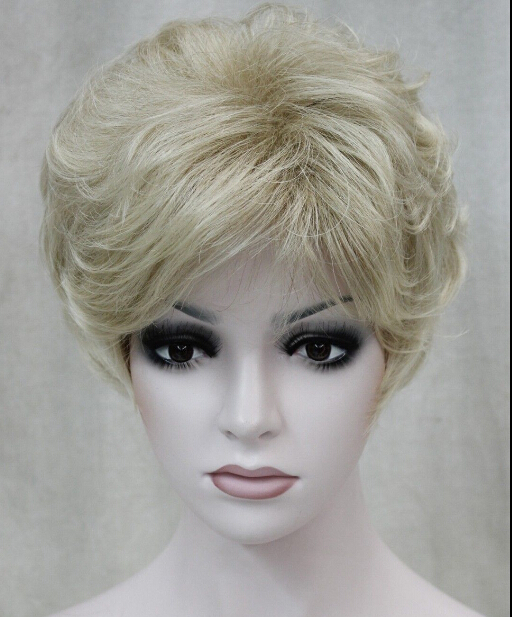 W005010 FREE SHIPPING Express delivery to USA blond Mixed short Curly Women Ladies Natural Hivision Daily full wig(China (Mainland))