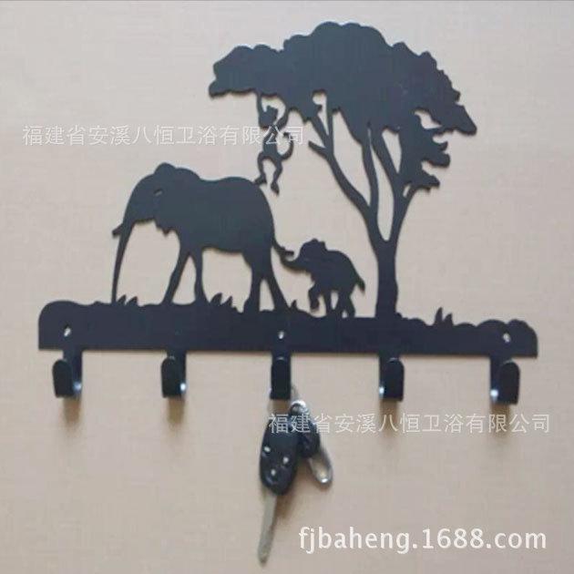 Coat hooks European Cowboys and horse back garden style decorative wrought iron decorative wall hooks row hook American Village