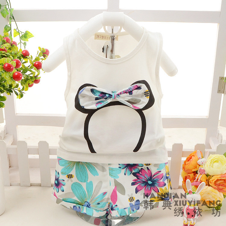 Fashion 2015 Baby Girl Clothing Set Minnie Vest Flower Shorts Little Girls Summer Sets Cotton Kids Toddler Girl Clothes 61605(China (Mainland))