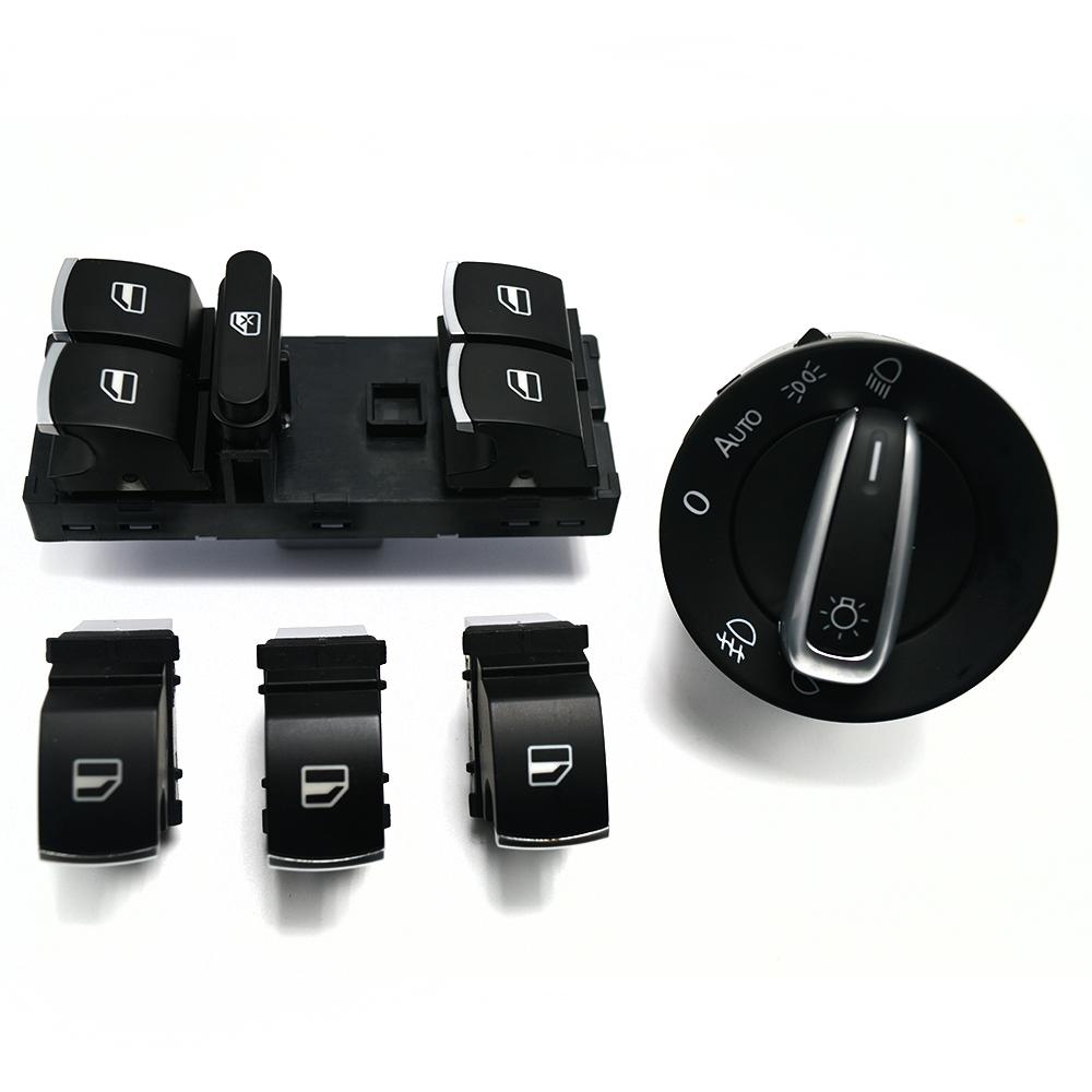 Factory direct sale window switch headlight Switch for VW Golf MK5 6 Jetta MK5 Passat B6 Tiguan 5ND941461B 5ND959857 5PCS/SET(China (Mainland))