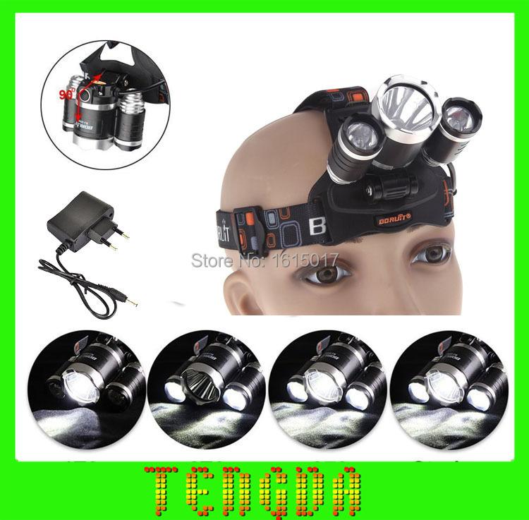 Headlamp 5000 Lumens Super Bright Boruit 3 CREE XML T6 LED Headlamp linterna frontal Headlight 18650 Head flash torch Light Lamp(China (Mainland))