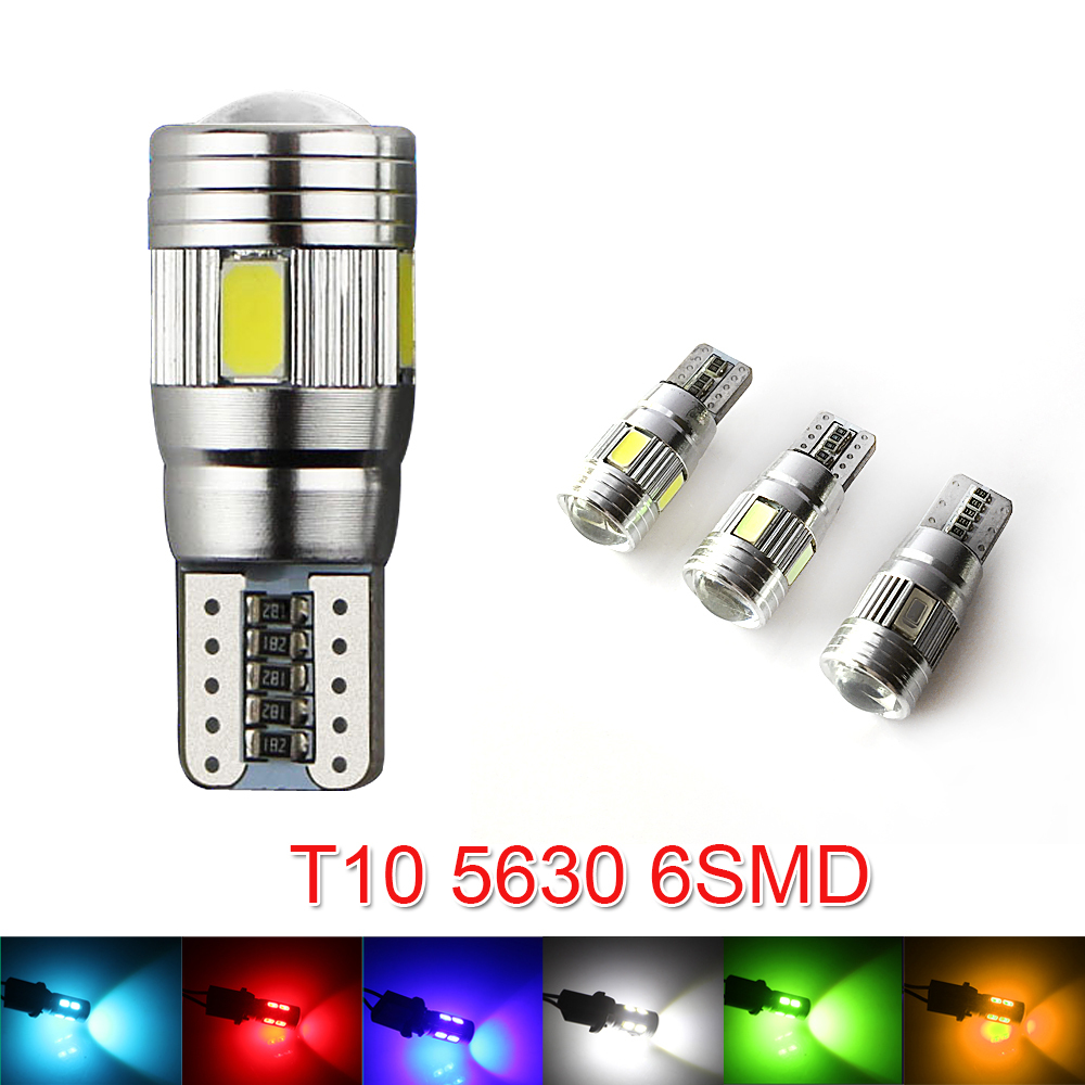 New update 6 colors T10 LED 1 PCS Auto Car Light Bulb 5730 SMD 6 LED W5W 12V Interior Parking Projector Lens(China (Mainland))