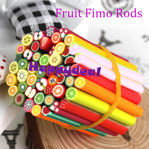 New 50pcs/lot Nail Art 3D Fruit Fimo Rods Canes Polymer Clay DIY Slice Decoration Nail Sticker(China (Mainland))