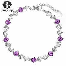 2017 Hot Sale Silver Plated Fashion Bracelet Cubic Zircon Bracelets Purple Crystal for Women Valentine's Day Gifts(China (Mainland))