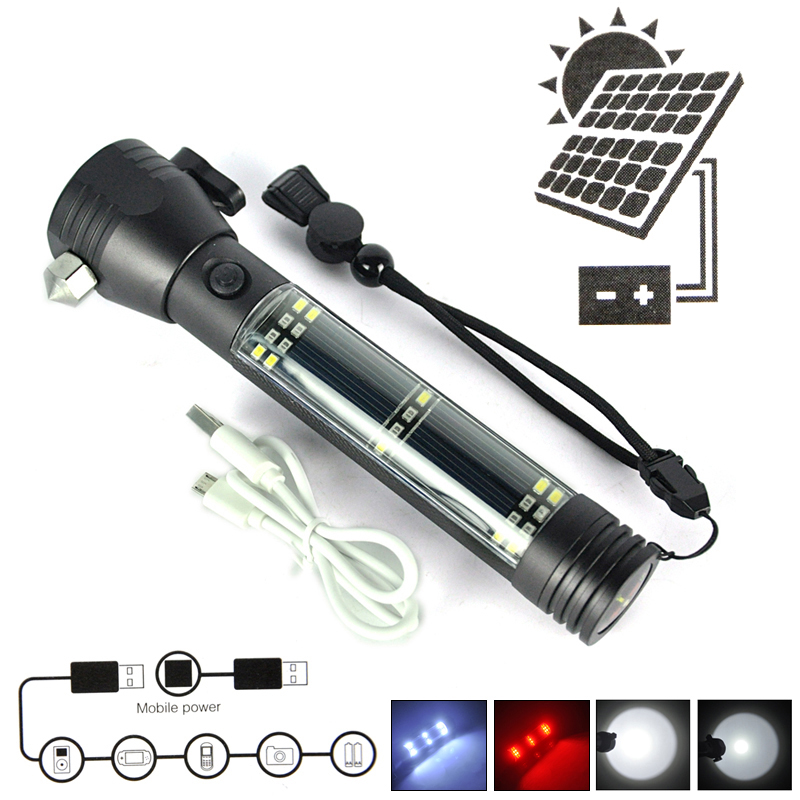 Multifunction XPE Solar LED Flashlight Rechargeable Portable Torch Light + Safety Hammer Compass Magnet Power Bank Functions(China (Mainland))