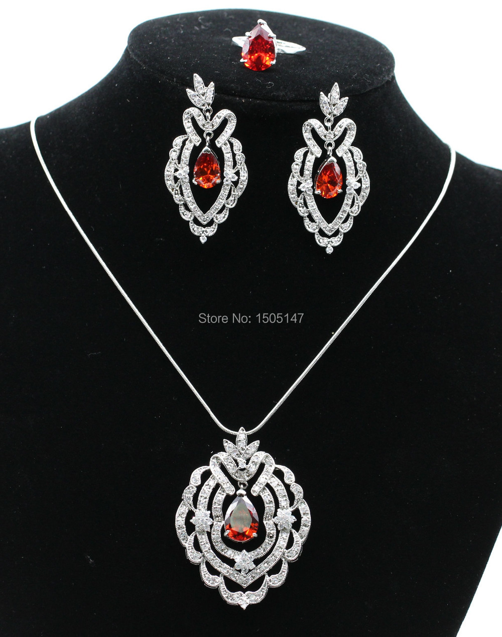 Women Fashion Jewelry Set,18kt white gold filled   zircon jewelry set Earrings&Necklace&Ring 6colors