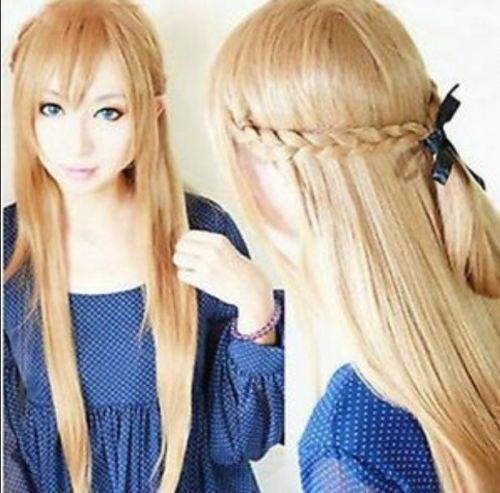 Hot heat resistant Party hair>>>>>>Hot ! Sword Art Online Asuna Yuuki light golden brown knit 80CM long cosplay wig(China (Mainland))