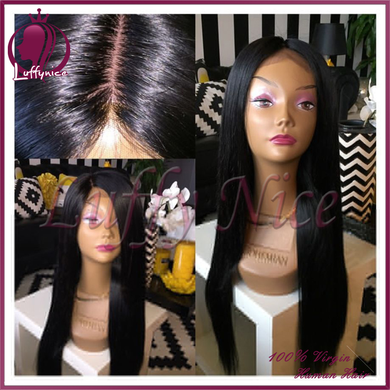 8a Brazilian virgin hair Silky Straight Full Lace Wig Unprocessed Glueless Full Lace Human Hair Wig For Black Woman 130% Density<br><br>Aliexpress