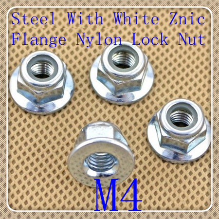 100PCS Factory Direct High Quality Steel With White  Znic Plated M4 Hexagon Flange Nylon Lock Nut<br><br>Aliexpress