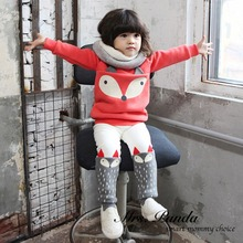 Retail 2016 Spring style Thicken Clothing sets Red Fox 2pcs(Full Sleeve + Pants) Children girls clothes Free Shipping